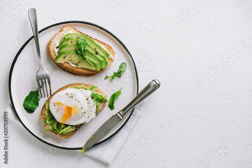 Avocado Sandwich with Poached Egg