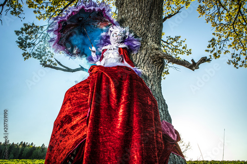 Fairy tale woman on stilts in bright fantasy stylization Canvas-taulu