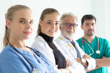 Confident female doctor looking at camera and smiling while her colleagues standing in a row behind her. A team of experienced highly qualified doctors.