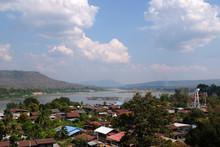 View Of Riverside Village At Wat Tham Khuha Sawan In Khong Chiam, Ubon Ratchathani, Thailand