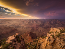 Sunset Over Grand Canyon, Arizona, America, USA