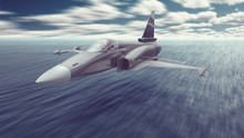 A Jet Fighter War Airplane Armed With Missiles Flying Really Low Over The Ocean Water To A Mission To Attack Or To Land On An Aircraft Carrier