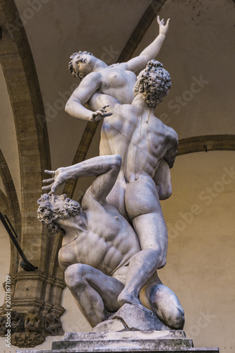 Statue Abduction of a Sabine Woman in Florence, Italy Wallpaper Mural