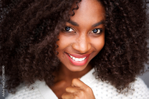 Fototapety, obrazy: Close up portrait african american woman with curly hair wearing warm clothes