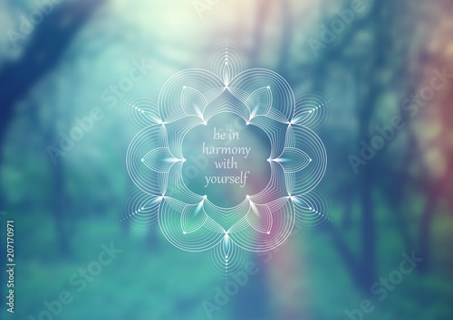 Fotografie, Obraz  Vector horizontal template for web and social media; Wonderful sacred geometry on landscape blurred background with motivational phrase or place for your text