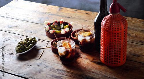 Valokuva  still life of typical spanish and italian snack
