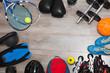 sports equipment on wooden floor. Top view.