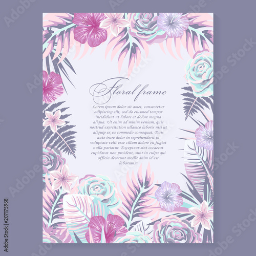 Vector Botanical Vertical Banner With Tropical Leaves And