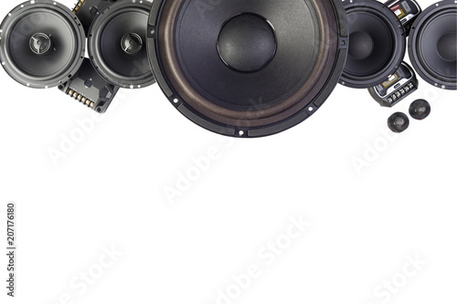 Fotomural Car audio, car speakers. White background