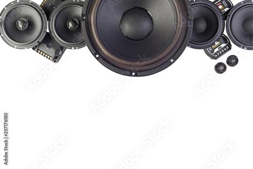 Cuadros en Lienzo Car audio, car speakers. White background