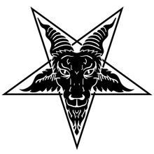 Satanic Goat Head On Pentagram...