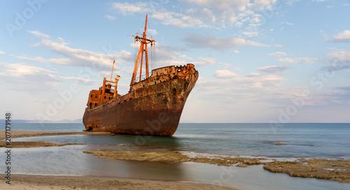 Poster Naufrage The famous shipwreck at Valtaki beach near Gytheio, Peloponnese, Greece.