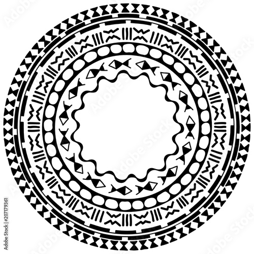 6733419b1 Circular pattern in form of mandala. Traditional ornaments of Maori people  - Moko style. Vintage decorative tribal border from elements of African  theme.