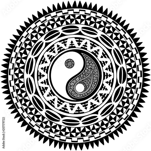 994b163e4 Circular pattern in form of mandala with Yin-yang hand drawn symbol.  Traditional ornaments of Maori people - Moko style. Vintage decorative  tribal border ...