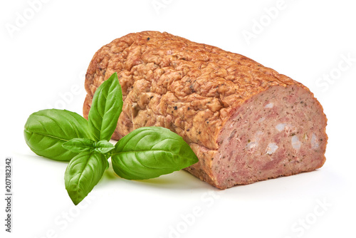 Baked meatloaf with boiled eggs, isolated on white background. Wallpaper Mural