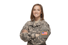 Female Army Soldier With Arms ...