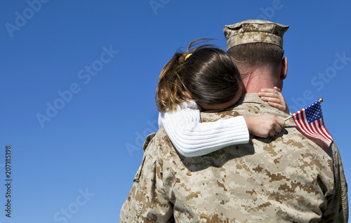 Military Man Hugging His Daughter Wallpaper Mural