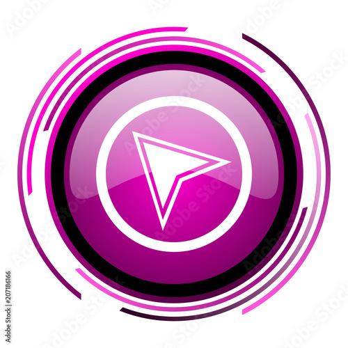 Fotografia  Navigation pink glossy web icon isolated on white background