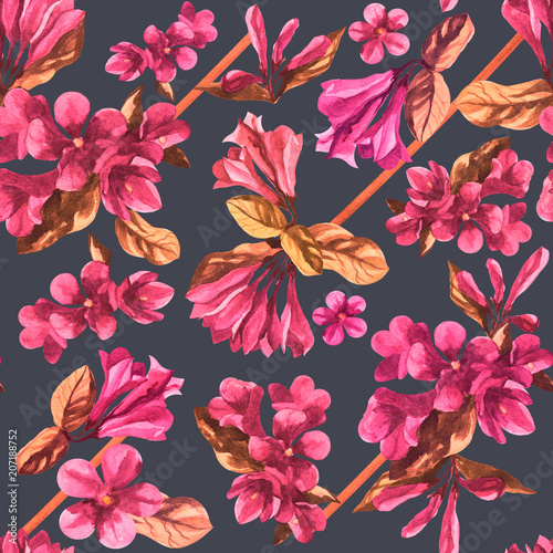 Tuinposter watercolor weigela flower seamless texture pattern background