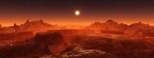 Panorama Of Space Landscape, Alien Landscape, 3D Rendering