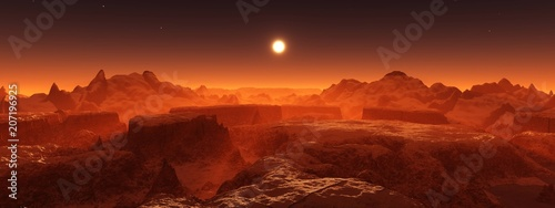 Cadres-photo bureau Marron Panorama of space landscape, alien landscape, 3D rendering