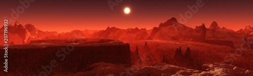 La pose en embrasure Rouge mauve Panorama of space landscape, alien landscape, 3D rendering