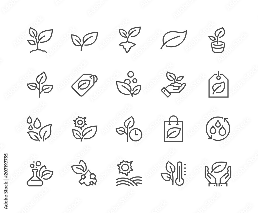 Fototapety, obrazy: Simple Set of Plants Related Vector Line Icons. Contains such Icons as Leaf on Hand, Growing Conditions, Leafs and more. Editable Stroke. 48x48 Pixel Perfect.