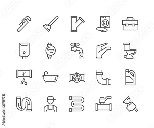 Simple Set of Plumber Related Vector Line Icons Fototapete