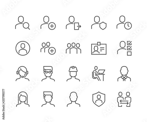 Simple Set of Users Related Vector Line Icons. Contains such Icons as Male, Female, Profile, Personal Quality and more. Editable Stroke. 48x48 Pixel Perfect. Fototapete