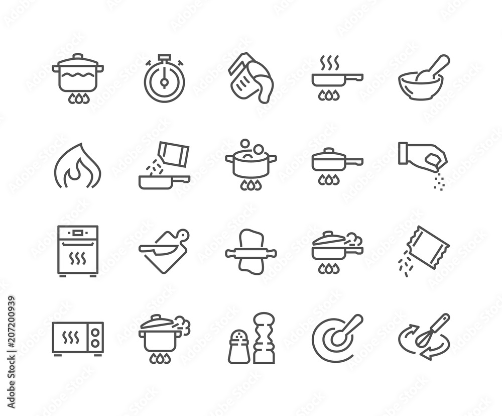 Fototapety, obrazy: Simple Set of Cooking Related Vector Line Icons. Contains such Icons as Frying Pan, Boiling, Flavoring, Blending and more. Editable Stroke. 48x48 Pixel Perfect.