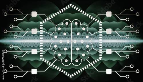 Photo  Neuromorphic Quantum Chip - Futuristic Technology - Abstract Illustration