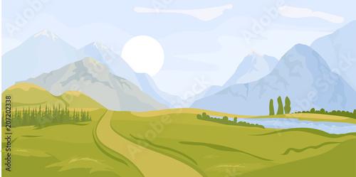 Fotobehang Wit Summer landscape background. Vector