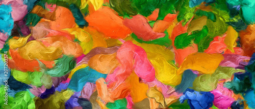 Abstract art background. Oil painting style on canvas. Warm colorful texture. Soft paint brushstrokes. Modern art. Contemporary artistic print. Template for design products decoration. Creative decor.