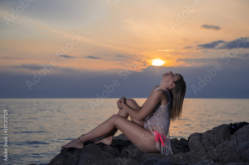 Poster  Model posing at sunset