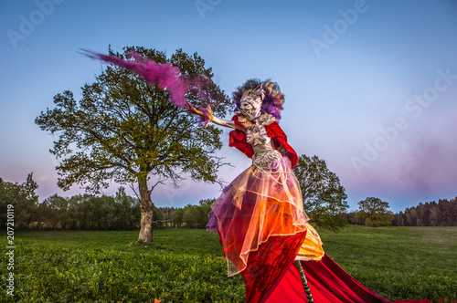 Obraz na plátne  Fairy tale woman on stilts in bright fantasy stylization