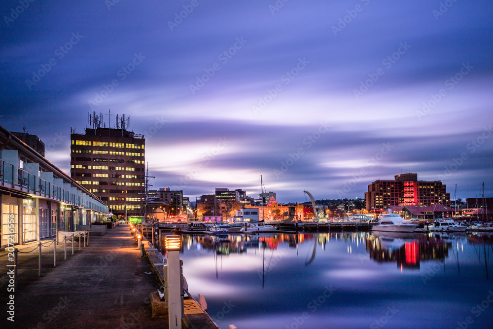 Fototapety, obrazy: Hobart waterfront photographed during a long exposure, Tasmania, Australia