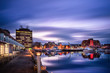 canvas print picture - Hobart waterfront photographed during a long exposure, Tasmania, Australia