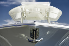 The Bow Of The White Yacht And...
