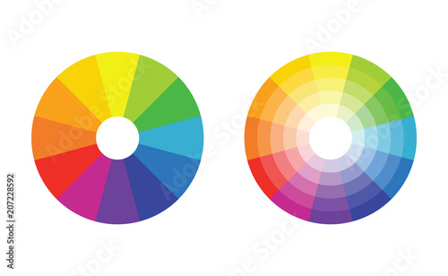 Fotomural  color wheel with 12 colors in gradiation