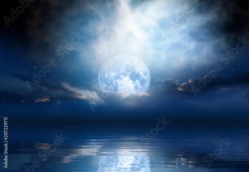 Foto op Plexiglas Indonesië Night sky with moon in the clouds