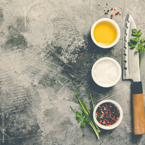 Kitchen knife and spices Canvas Print