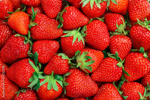 Many ripe red strawberries as background, closeup