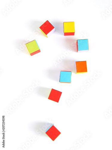 A Question Mark Made Of Multi Colored Paper Cubes Origami Top View