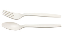 Plastic Spoon And Fork Isolate...