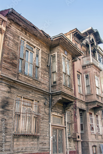 Istanbul, Turkey, 21 April 2006: Old Yavuz Sultan Selim Wooden Houses in the Fatih district of Istanbul Poster