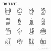 Craft Beer Thin Line Icons Set Related To Octoberfest: Beer Pack, Hop, Wheat, Bottle Opener, Manufacturing, Brewing, Tulip Glass, Mag With Foam, Can. Modern Vector Illustration.