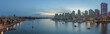 Panorama of Yaletown and downtown Vancouver after sunset.