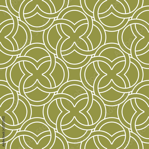 Fotografie, Obraz  Olive green and white geometric ornament. Seamless pattern
