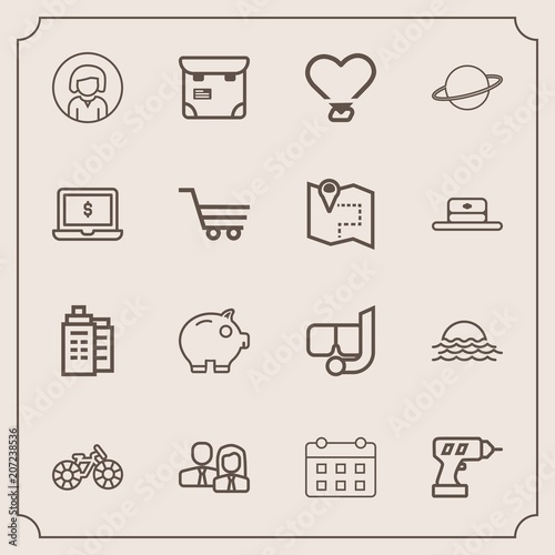 Modern Simple Vector Icon Set With Woman Cycle Sunrise Pretty