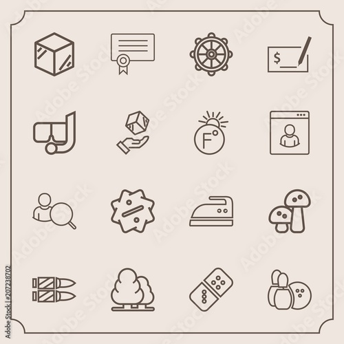 Modern, simple vector icon set with helm, pin, package